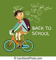 student college riding bicycle go back to school class icon...