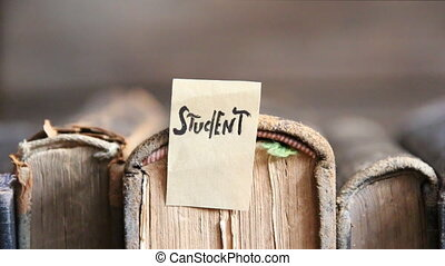 student concept, tag and books