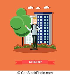 Student concept vector illustration in flat style