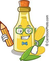 Student corn oil put into cartoon bottle