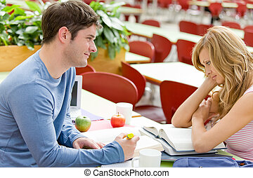Student couple studying together