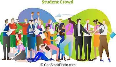 Student crowd vector illustration. Group of young people in...