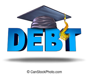 Student debt financial concept as a graduation mortar board on the word for school tuition loan repayment or lending and education financing symbol for university and college students on a white background.