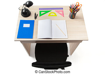 Student Desk with Clipping Path