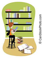 student, do, knihovna