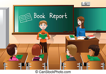 A vector illustration of student doing a book report in front of the class