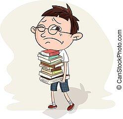 student, dragen, stapel, van, boek