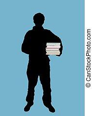 student - Illustration of man holding books