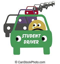 student driver illustration - frightened student driver in ...