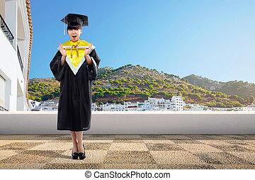 student, dyplom, asian, dzierżawa, dziewczyna, woluta, szczęśliwy