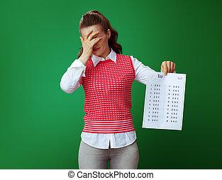 student, f, pokaz, odizolowany, zielony, wynik, tło, próba