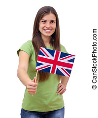 Student Female With British Flag - Happy beautiful student...