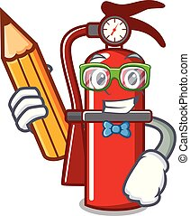 Student fire extinguisher character cartoon