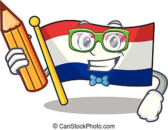 Student flag netherlands with the mascot shape vector ...
