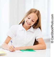student, flicka, studera, hos, skola