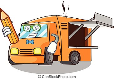 Student Food Truck with Isolated on mascot