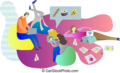 Student friends chilling online together while laying on the ground indoors. College life conceptual scene with males and females relaxing and using gadgets.