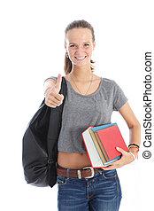 student, geven, beduimelt omhoog