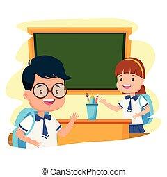 student girl and boy classroom chalkboard back to school
