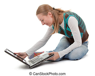student girl and laptop