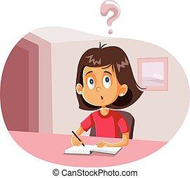 Student Girl Having Questions Doing Homework Vector Cartoon...