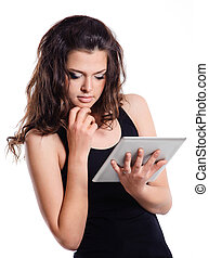 student girl holding a tablet compute