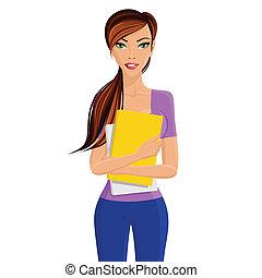 Student girl holding folder - Young elegant beautiful...