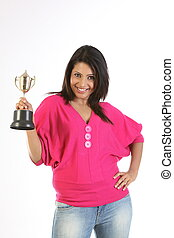 student girl holding gold trophy