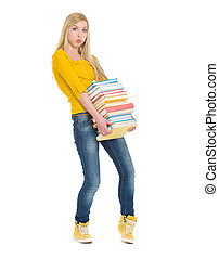 Student girl holding heavy stack of books