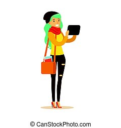Student girl in fashionable clothes and long turquoise hair standing and holding gadget in her hands. Student lifestyle colorful character vector Illustration