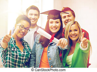 student girl in graduation cap with diploma