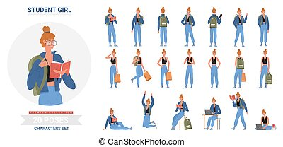 Student girl poses infographic set, cartoon young woman standing with backpack, sitting, studying