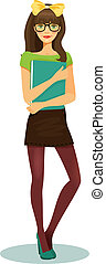 pretty girl student with glasses and book in hand vector illustration on white background