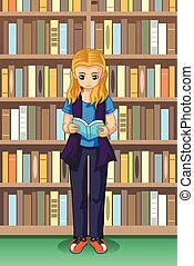 Student Girl Reading in the Library Illustration