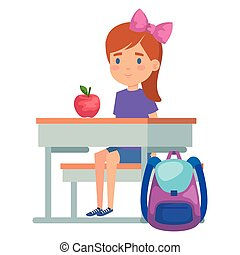 student girl seated in school desk with apple and bag