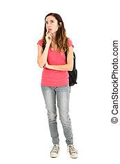 Student girl thinking, full length