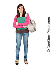 Student girl with backpack isolated on a over white...