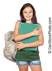 Student girl with folder and backpack