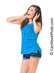 Student girl with headphones