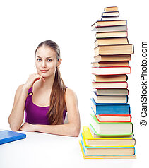 Student girl with high stack of books
