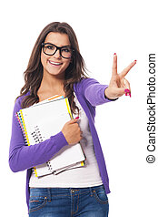 Student girl with notebook in hands