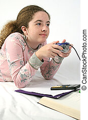 Student Goofing Off - A student playing video games instead...
