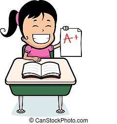 A happy cartoon girl student with good grades.