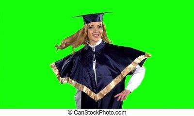 Student. Graduate. Green screen. Slow motion