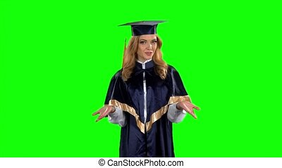 Student graduate isolated confident talking interview. Green screen. Slow motion
