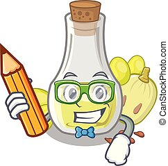 Student grape seed oil in cartoon bottle