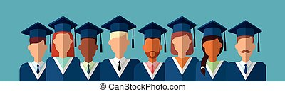 Student Group Graduation Gown Cap Banner Flat Vector...