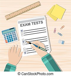 Student hand fills examination quiz paper, School exam test results. wooden school desk with pins, calculator. vector illustration in flat design.