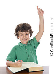 student handsome boy with his hand raised up