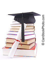 Student hat, diploma and books
